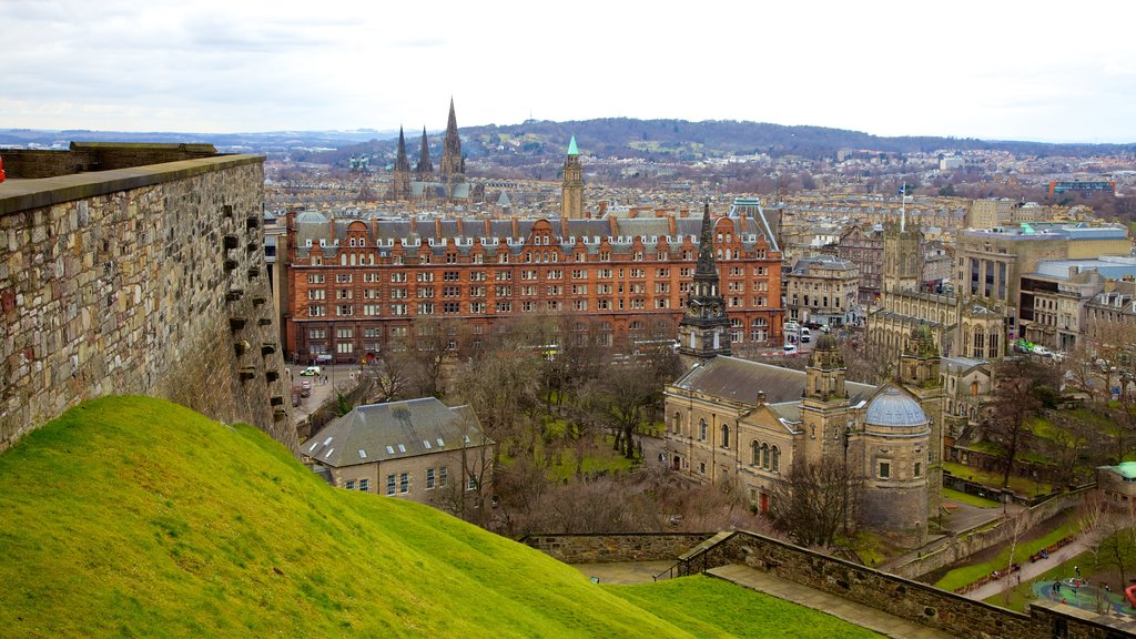 Edinburgh Castle featuring heritage architecture and a city