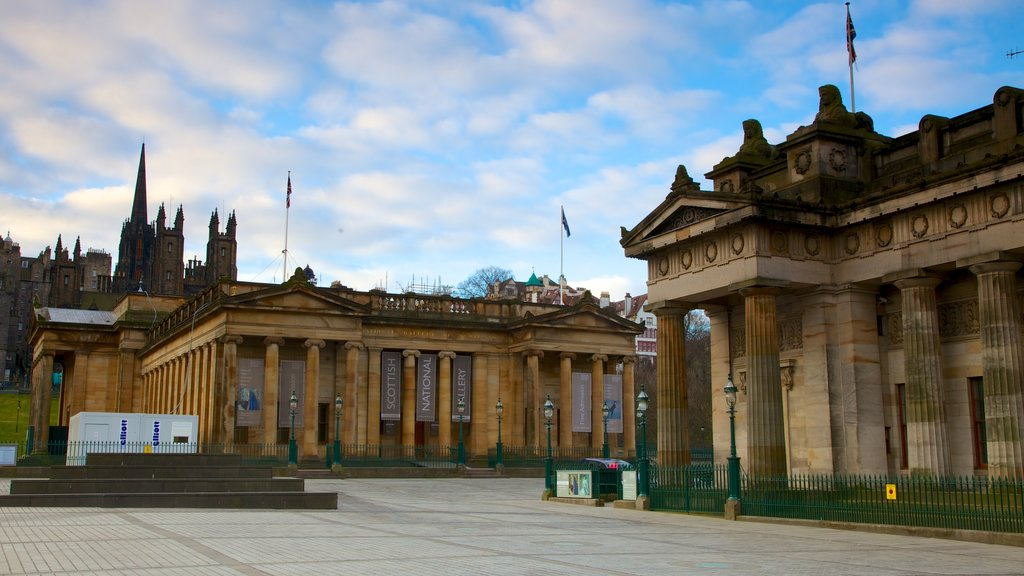 Scottish National Gallery featuring a square or plaza and heritage architecture