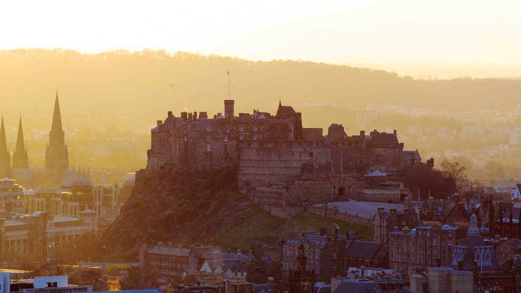 Arthur\\\'s Seat featuring heritage architecture, chateau or palace and a sunset