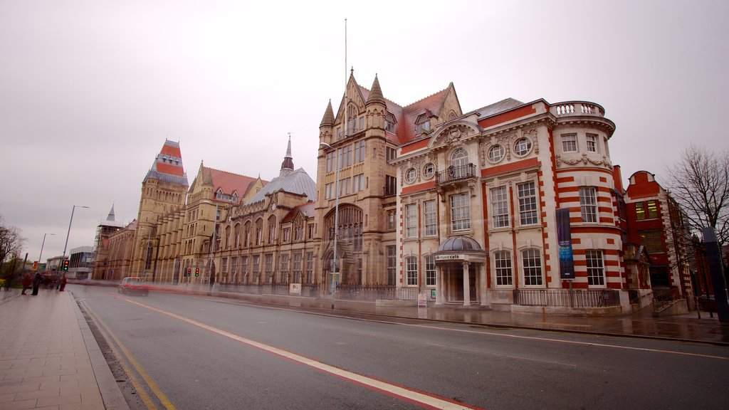 Manchester Museum featuring a city and street scenes