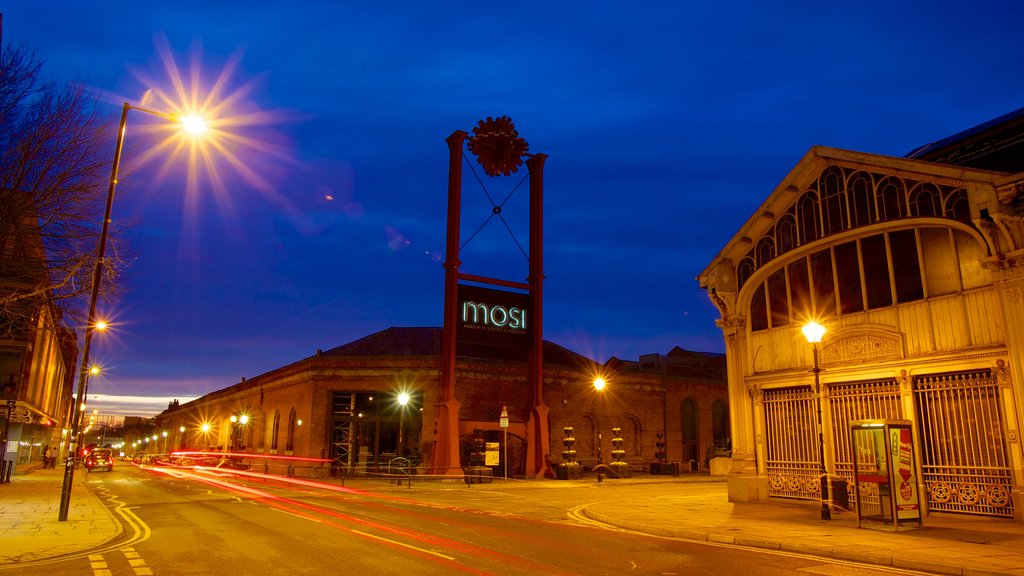 Museum of Science and Industry featuring a sunset, night scenes and a city
