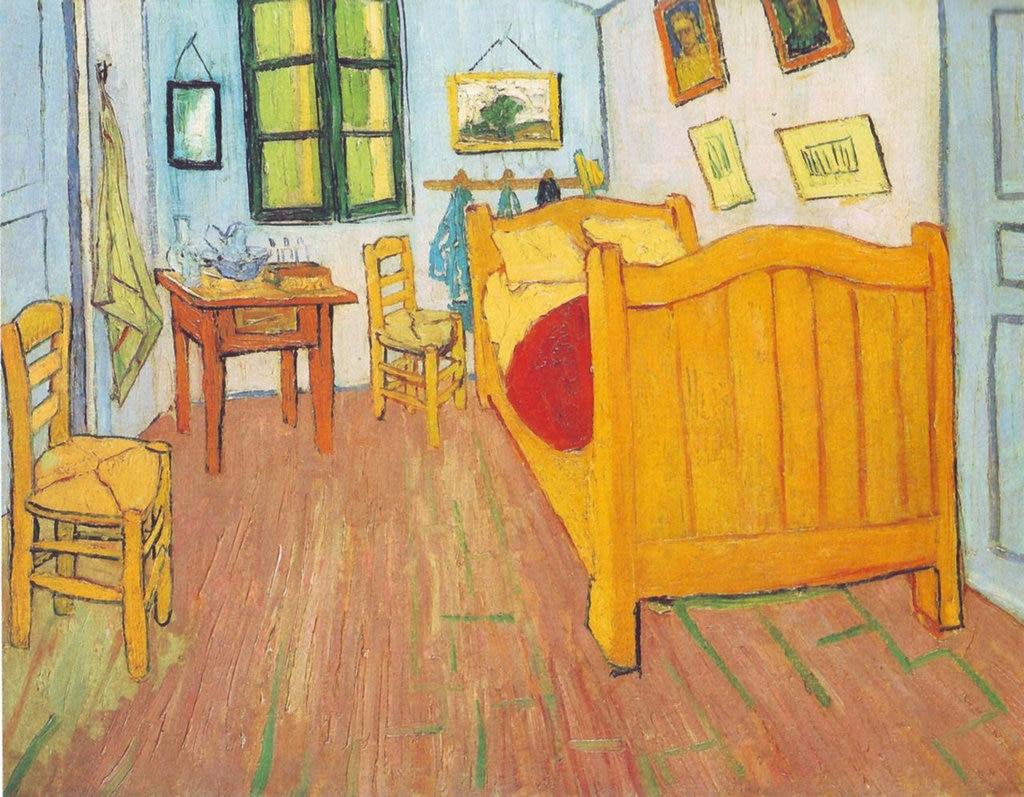 Vincent van Gogh, La camera di Vincent ad Arles,1888. Vincent van Gogh  , via Wikimedia Commons