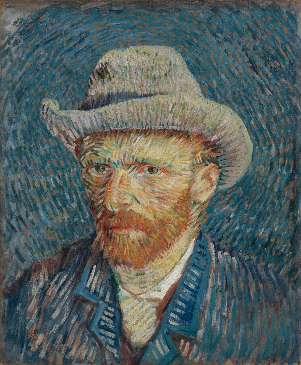 Vincent van Gogh, Autoritratto con cappello di feltro, 1887. Courtesy of the Van Gogh Museum, Amsterdam