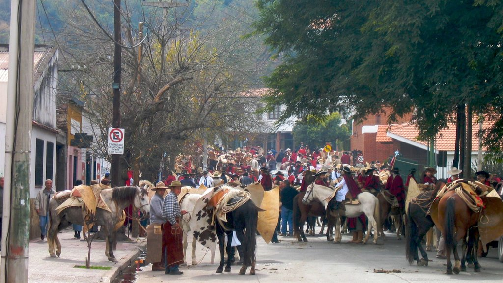 Salta showing horseriding, street scenes and a small town or village