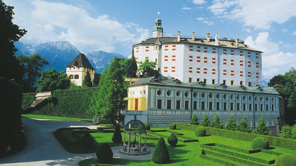 Ambras Castle showing chateau or palace, heritage architecture and a garden