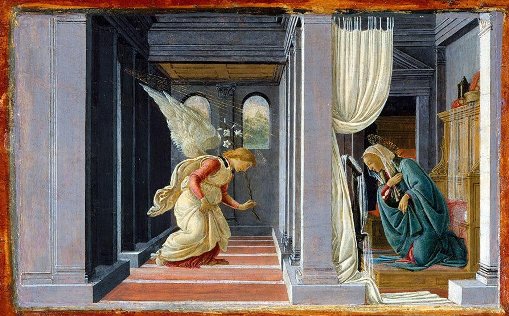 L' Annunciazione di Sandro Botticelli. Il celebre dipinto è stato realizzato nel 1485 e oggi è conservato al Metropolitan Museum.  , via Wikimedia Commons