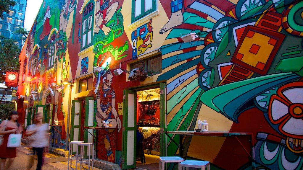 Haji Lane que incluye arte al aire libre, una ciudad y escenas urbanas