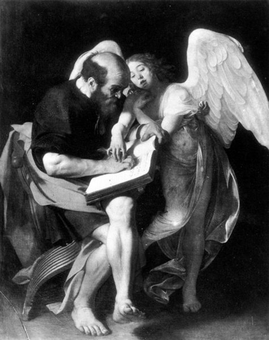 Caravaggio, San Matteo e l'angelo, 1602, già Berlino, Kaiser Friedrich Museum (Wikimedia Commons -  https://upload.wikimedia.org/wikipedia/commons/8/88/San_Matteo_e_l%27angelo.jpg)