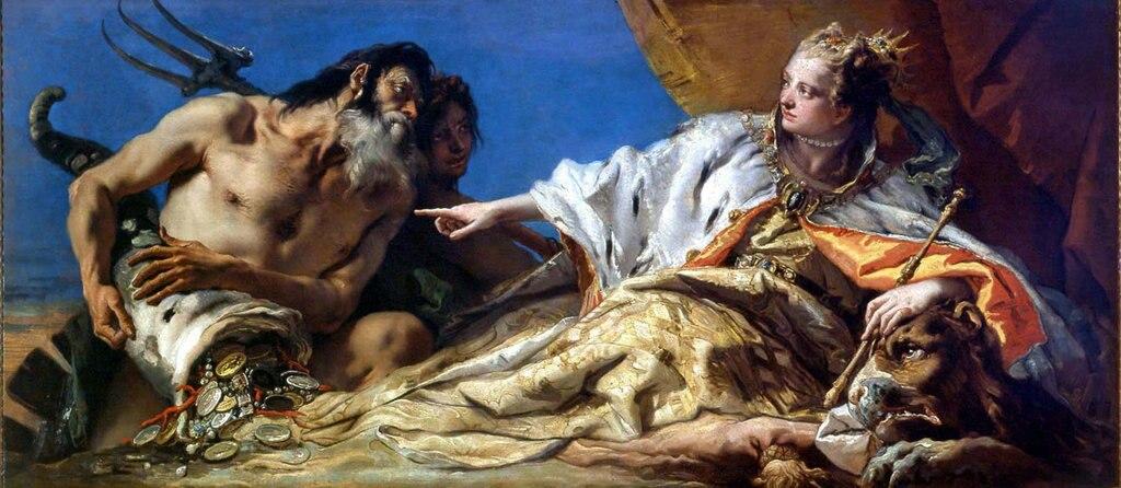 Giambattista Tiepolo, Venezia e Nettuno (1745 - 1750 ), Sala delle Quattro Porte Venezia, Palazzo Ducale. Courtesy of © Fondazione Musei Civici di Venezia.