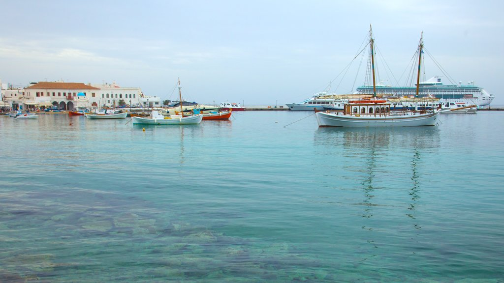 Mykonos Town which includes a bay or harbor and boating