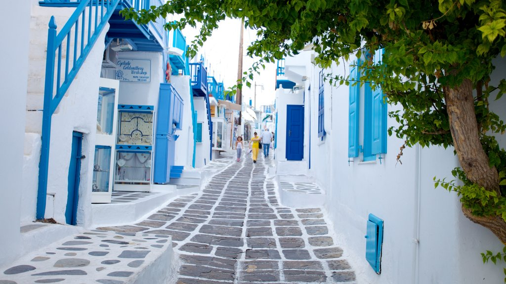 Mykonos Town which includes street scenes