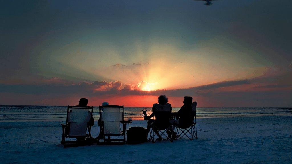 Siesta Key featuring general coastal views, a sandy beach and a sunset