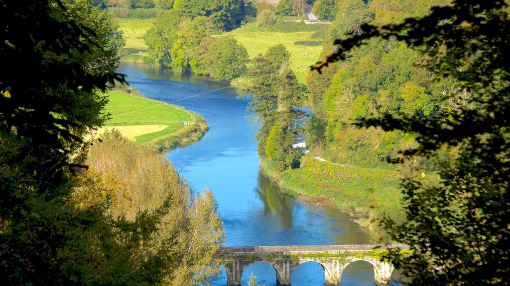 Inistioge which includes landscape views, a river or creek and a bridge