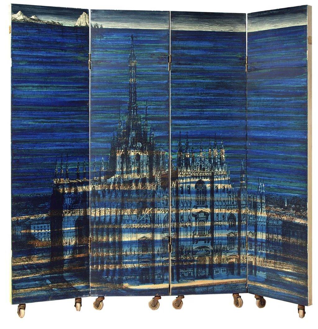 """Piero Fornasetti, Paravento """"Duomo sommerso"""", cm 200x200, legno, stampato, laccato e dipinto a mano. Courtesy Fornasetti"""