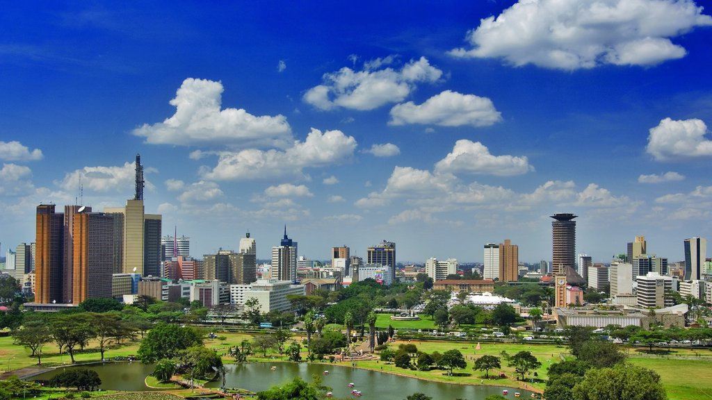 Nairobi which includes a skyscraper, central business district and skyline