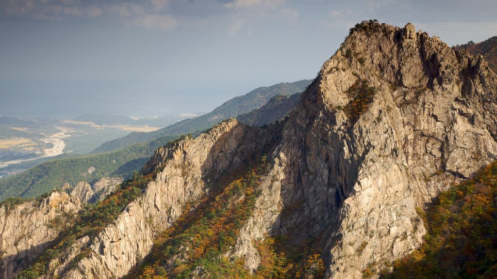 Seorak-san National Park which includes a gorge or canyon, mountains and landscape views