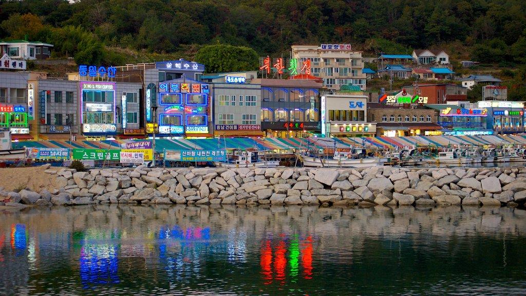 Sokcho showing rocky coastline and a coastal town