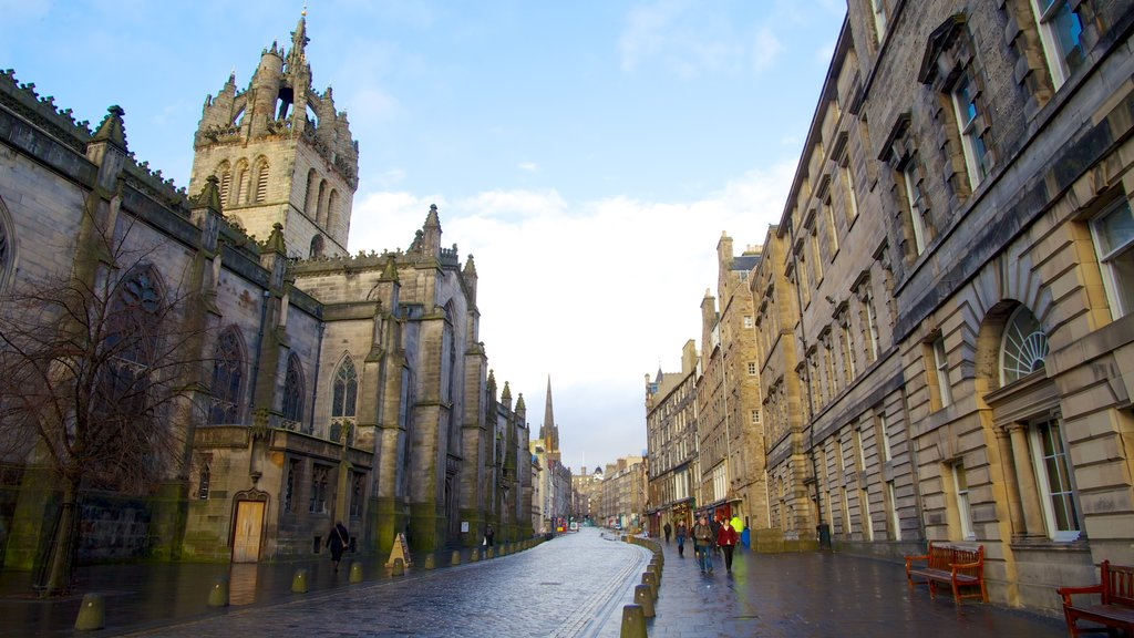 St. Giles\\\' Cathedral which includes heritage architecture, a city and a church or cathedral