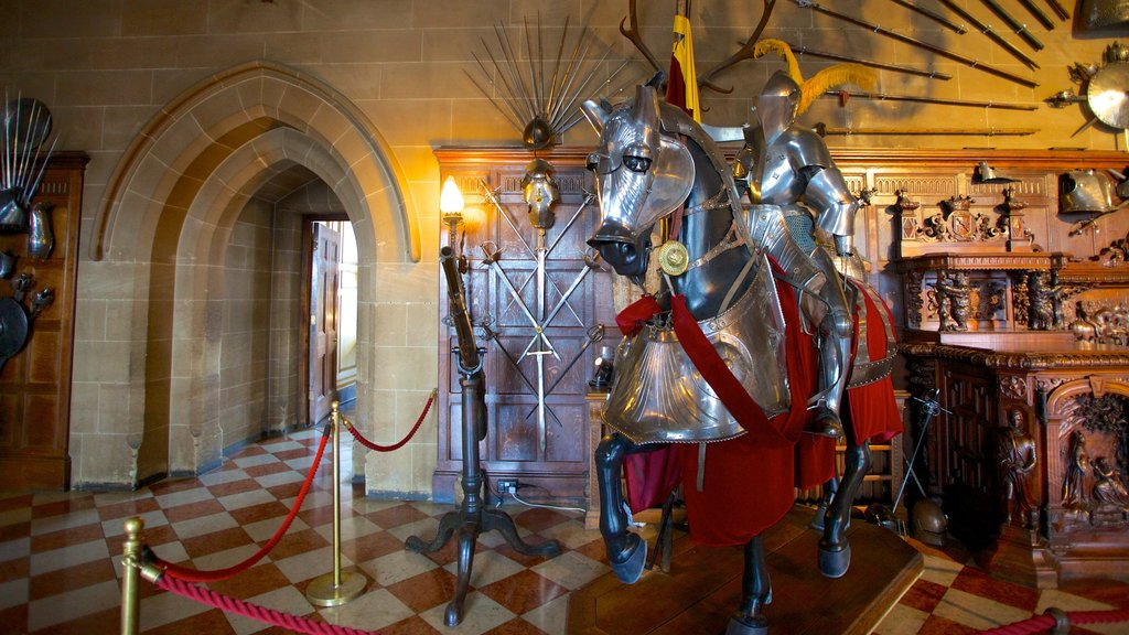 Warwick Castle showing heritage architecture, interior views and a castle
