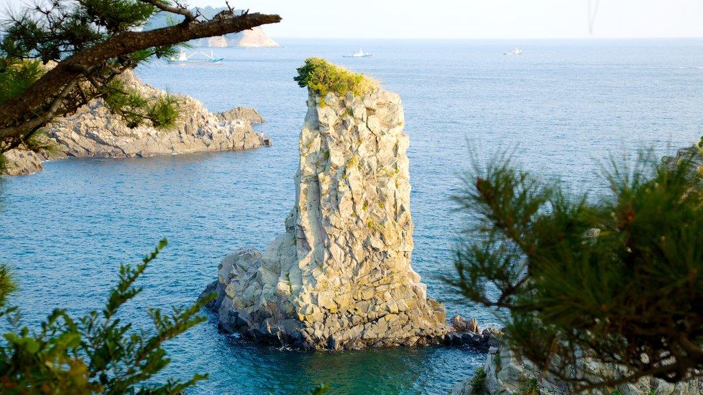 Jeju Island which includes landscape views and rocky coastline