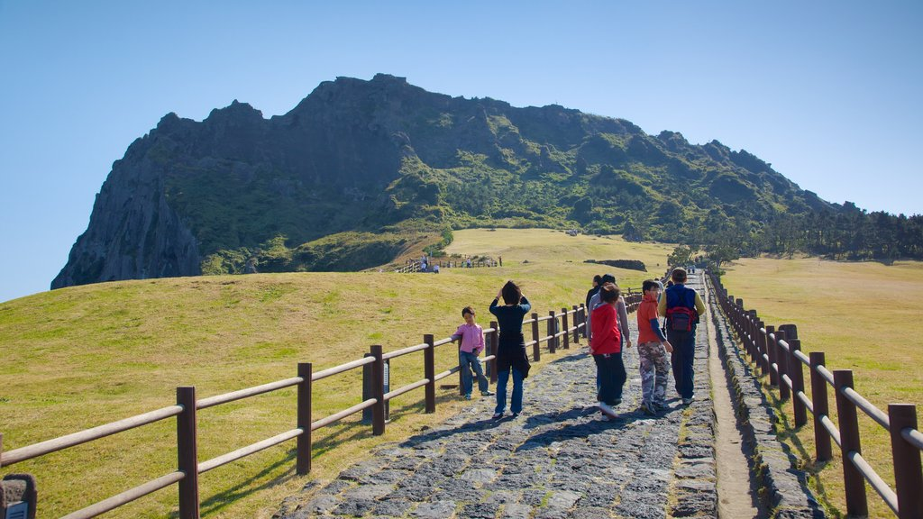 Seongsan Ilchulbong featuring landscape views, hiking or walking and tranquil scenes