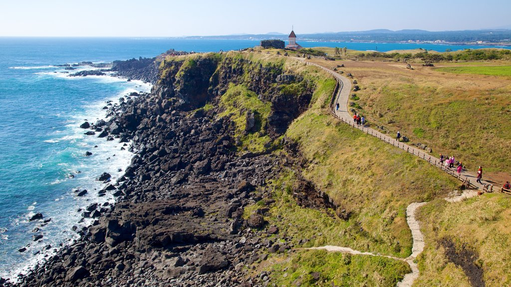 Jeju Island featuring tranquil scenes, rugged coastline and landscape views