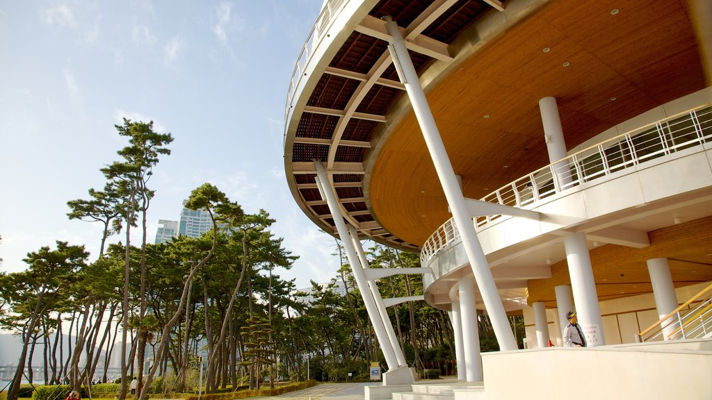 Nurimaru APEC House which includes a city and modern architecture