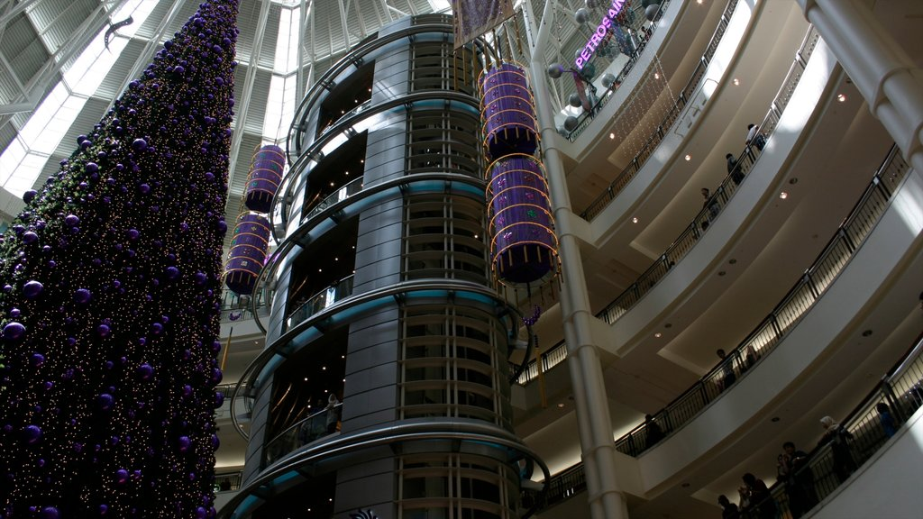 Petronas Twin Towers showing interior views, modern architecture and a city
