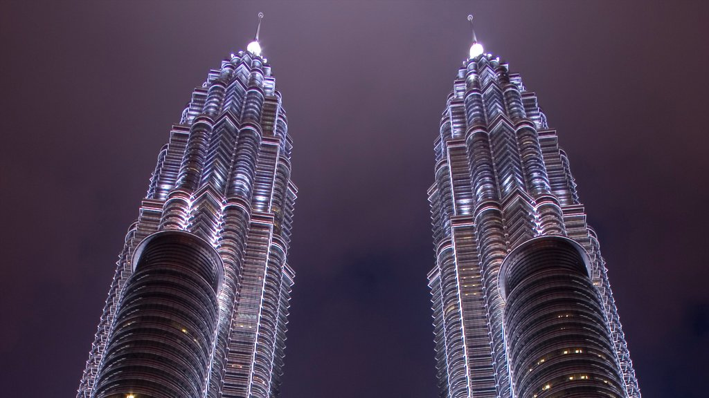 Petronas Twin Towers featuring night scenes, a city and industrial elements