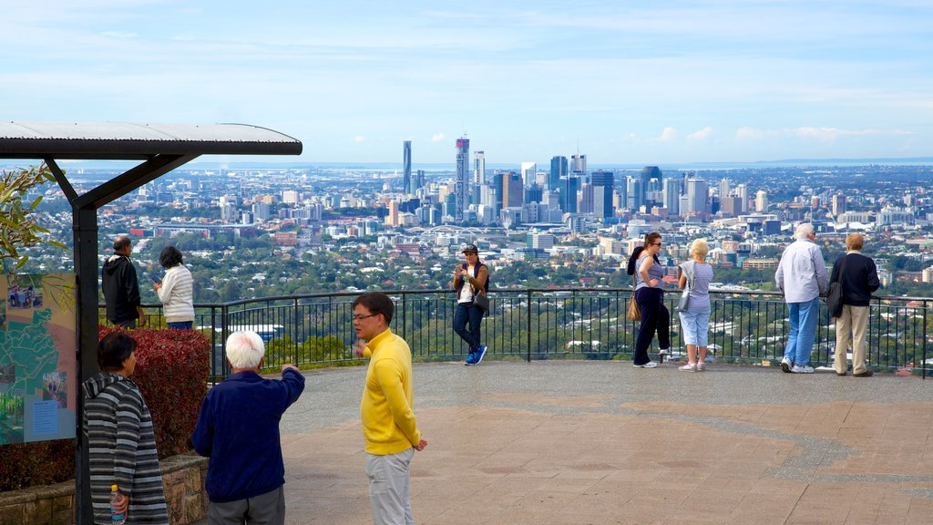 Mt. Coot-Tha which includes a city, skyline and a high rise building