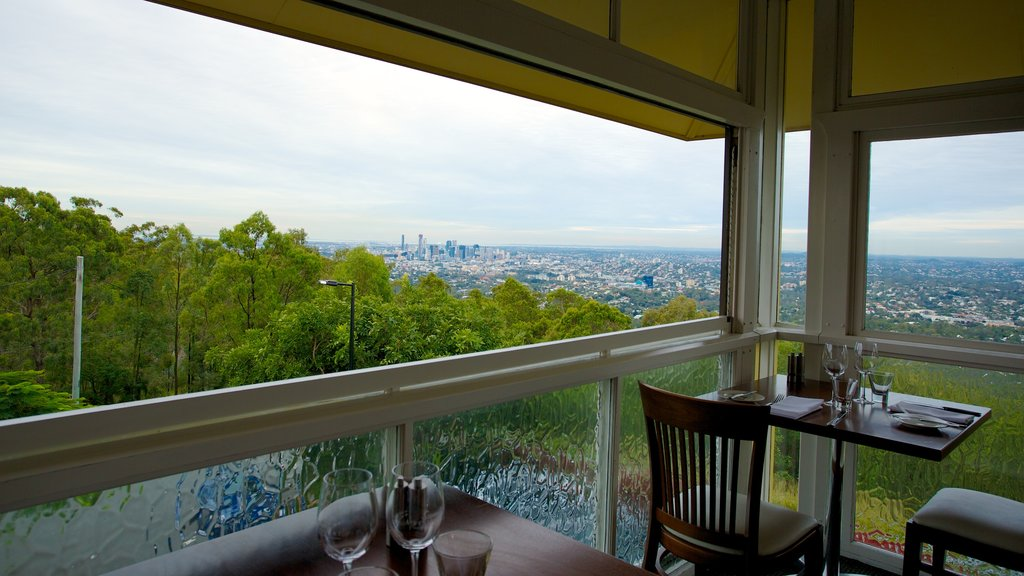 Mt. Coot-Tha featuring cafe scenes and interior views