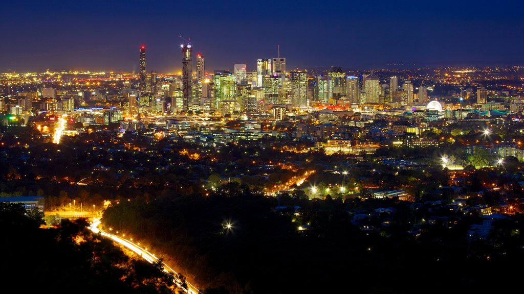 Mt. Coot-Tha featuring a city, a high rise building and night scenes