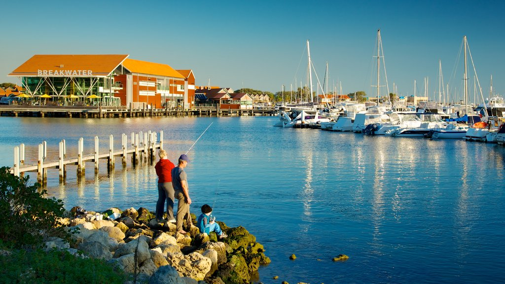 Hillarys Boat Harbour which includes fishing, a coastal town and a bay or harbor