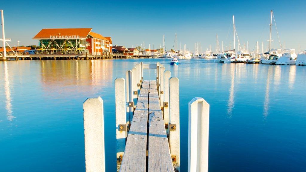 Hillarys Boat Harbour que incluye una ciudad costera, paseos en lancha y una bahía o puerto