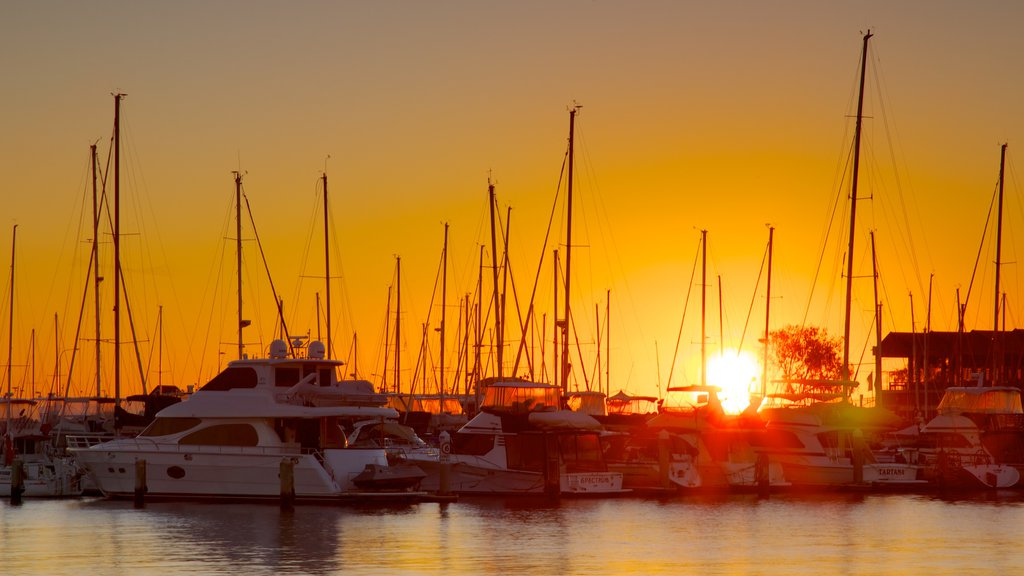 Hillarys Boat Harbour which includes a sunset, a bay or harbor and boating