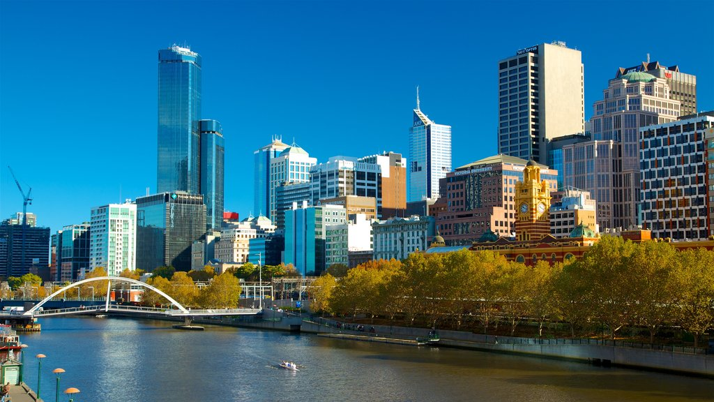Melbourne featuring a skyscraper, a river or creek and central business district