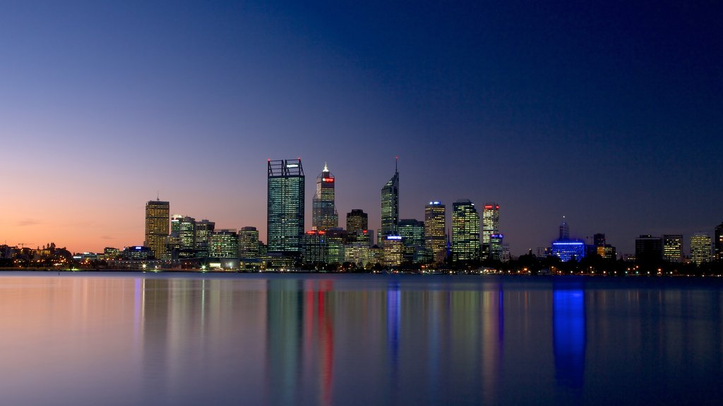 Perth showing a sunset, cbd and modern architecture