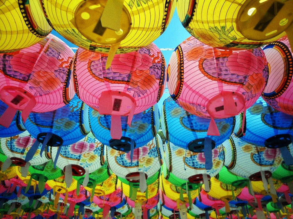 Colorful traditional lanterns found all over the Beopjusa Temple in South Korea for Buddha