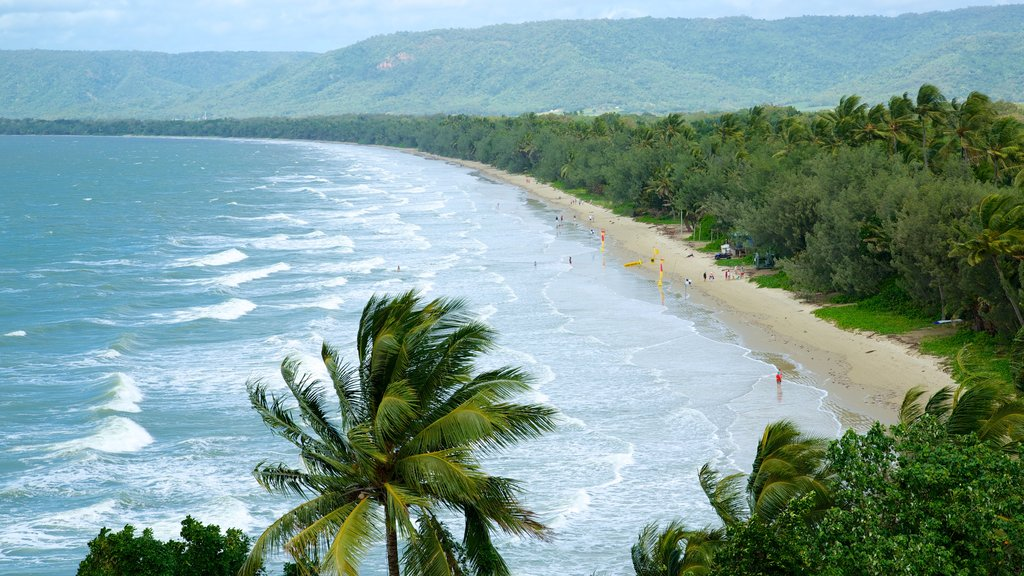 Four Mile Beach which includes general coastal views, landscape views and waves