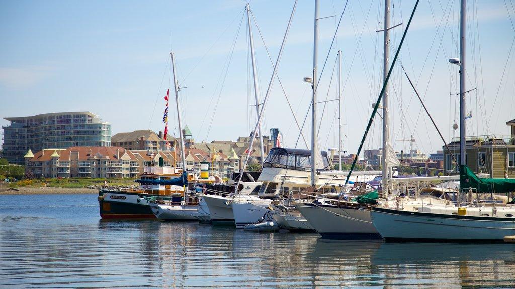 Victoria Fisherman\'s Wharf showing a marina and a coastal town