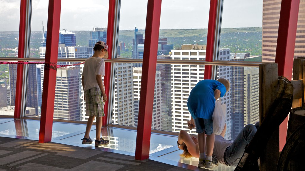 Calgary showing views, interior views and a city