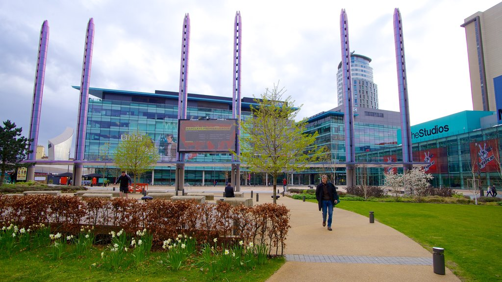 MediaCityUK featuring theater scenes, modern architecture and a garden