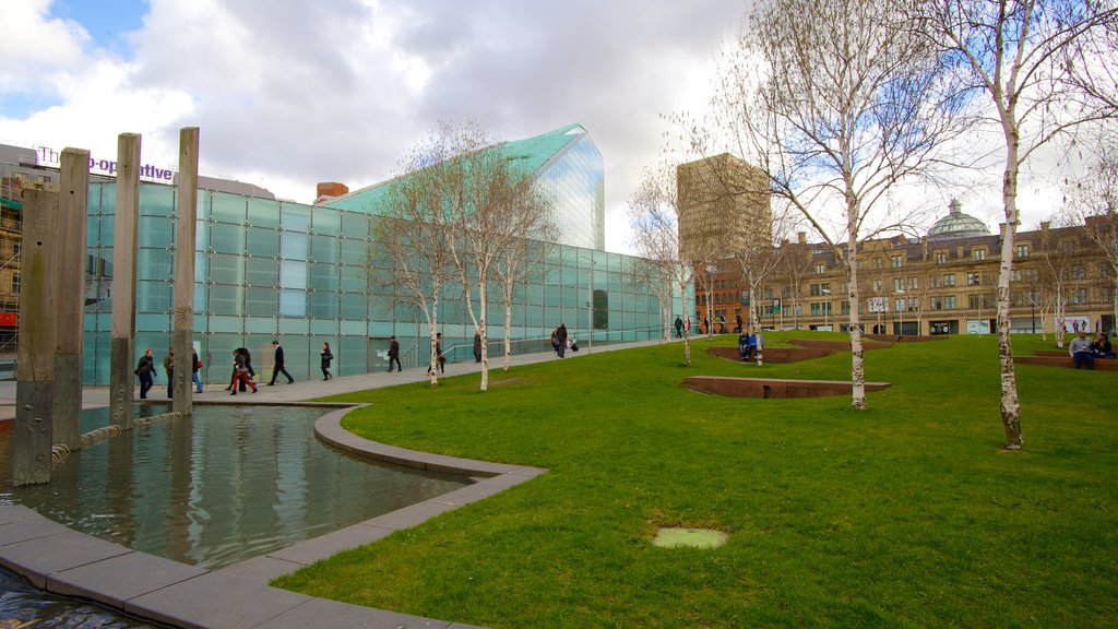 National Football Museum which includes modern architecture, a garden and a pond