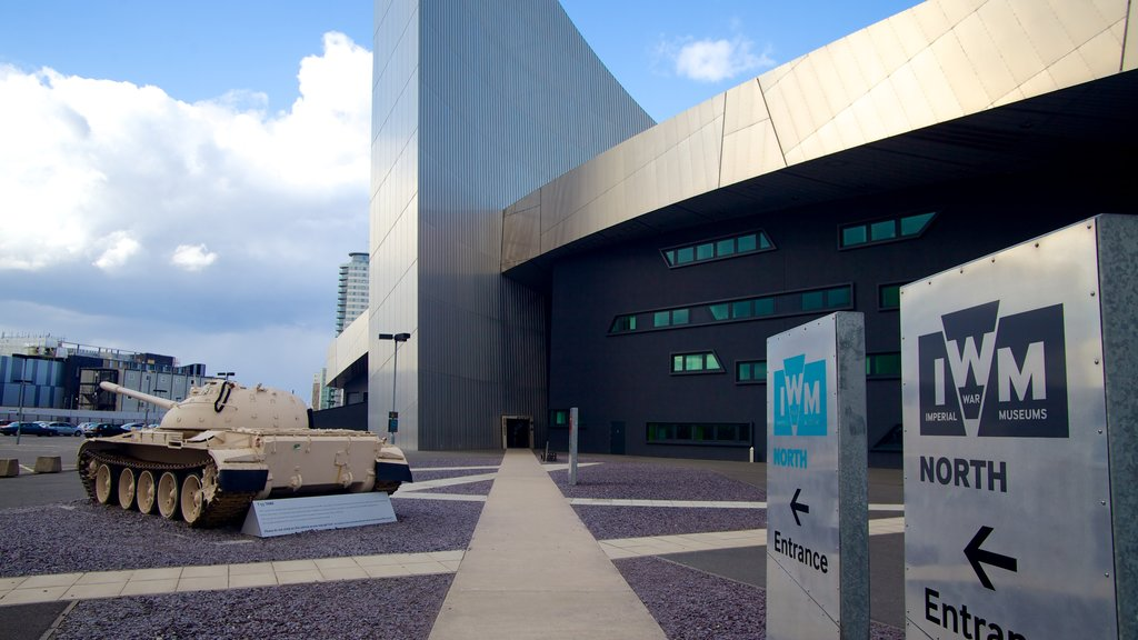 Imperial War Museum North which includes signage and military items