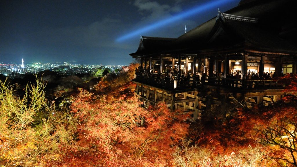 Kiyomizu Temple which includes night scenes, religious elements and a temple or place of worship