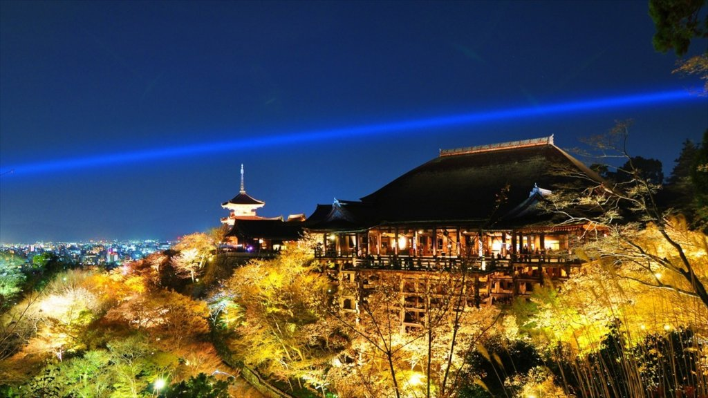 Kiyomizu Temple showing night scenes, a temple or place of worship and religious elements