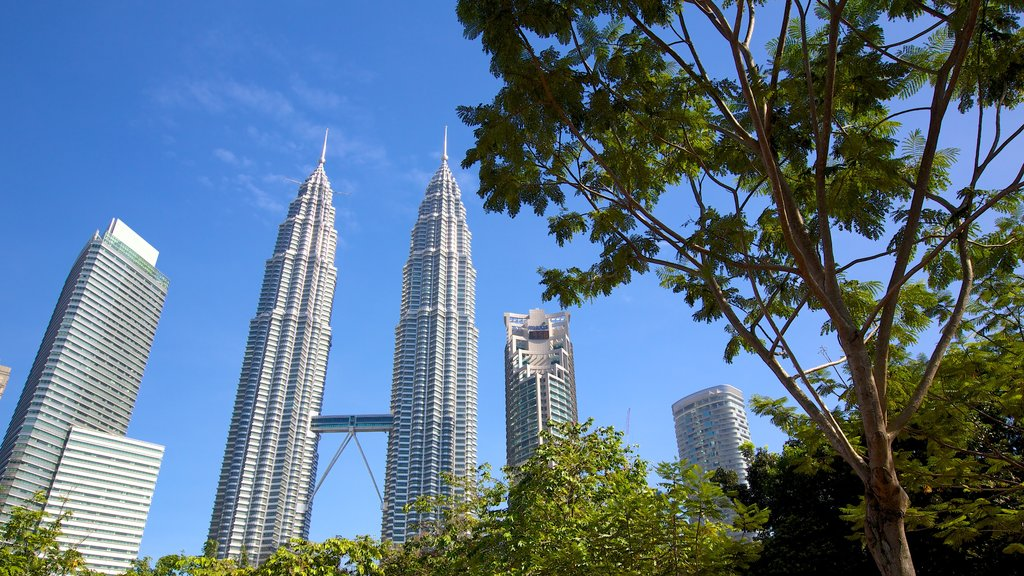 KLCC Park featuring a city, a high rise building and a park