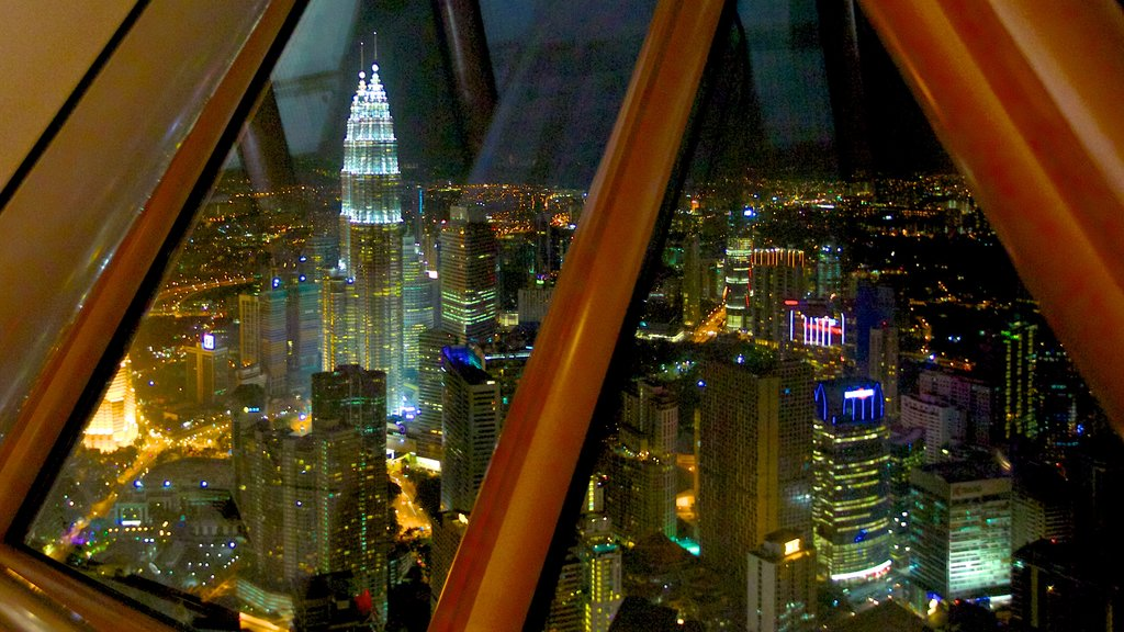 Kuala Lumpur Tower which includes night scenes, views and a skyscraper