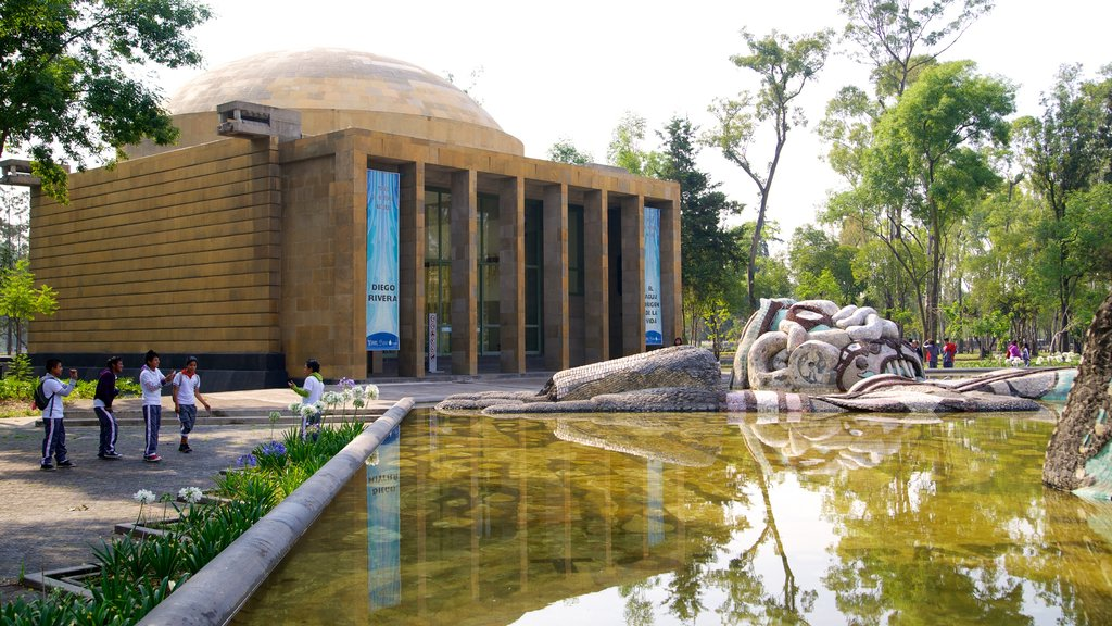 Chapultepec Park showing a pond and heritage architecture