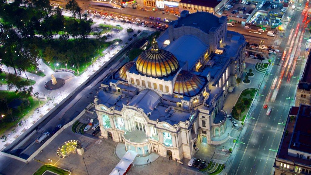 Palacio de Bellas Artes showing heritage architecture, night scenes and chateau or palace
